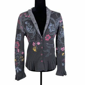 Ivko Wool Pleated Floral Cardigan Sweater